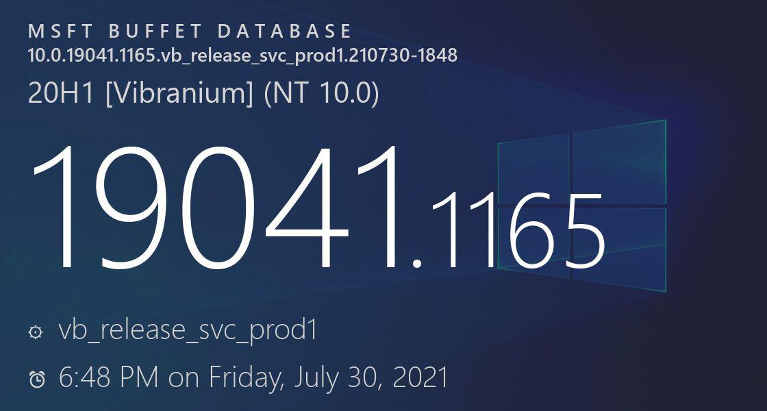 微软发布Win10 19043.1165/19042.1165/19041.1165安全质量更新!