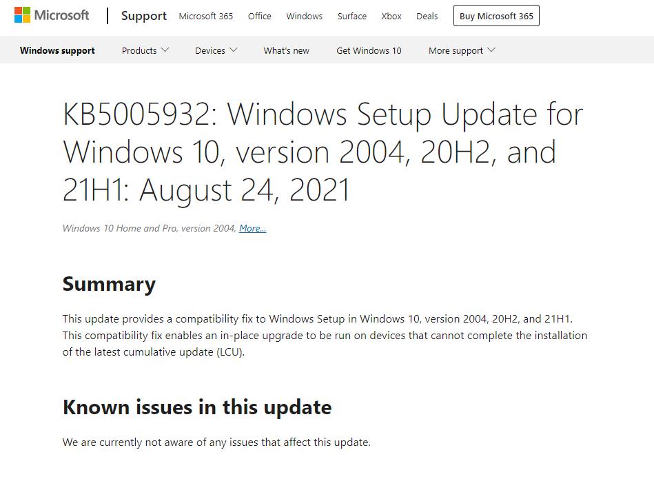 微软为 Win10 推送 KB5005932 补丁,修复无法安装累积更新 Bug