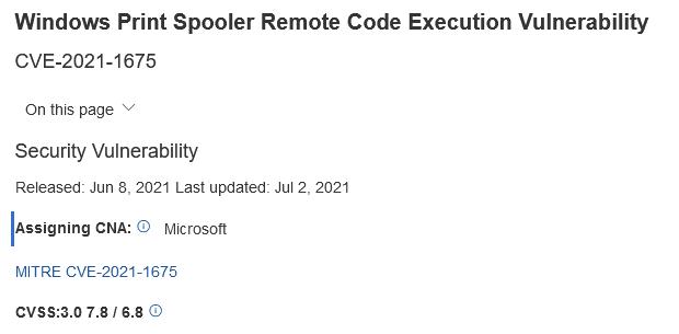 """微软为PrintNightmare漏洞提供进一步的缓解措施 将其评级为 """"高严重性"""""""